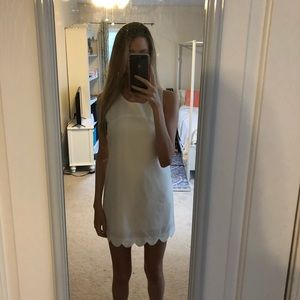 White Scallop Shift Dress